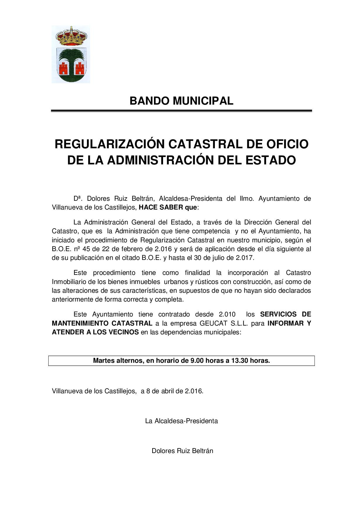BANDO MUNICIPAL REGULARIZACION CATASTRAL