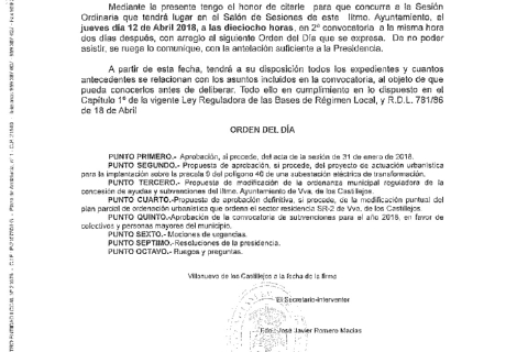 Convocatoria de pleno ordinaria