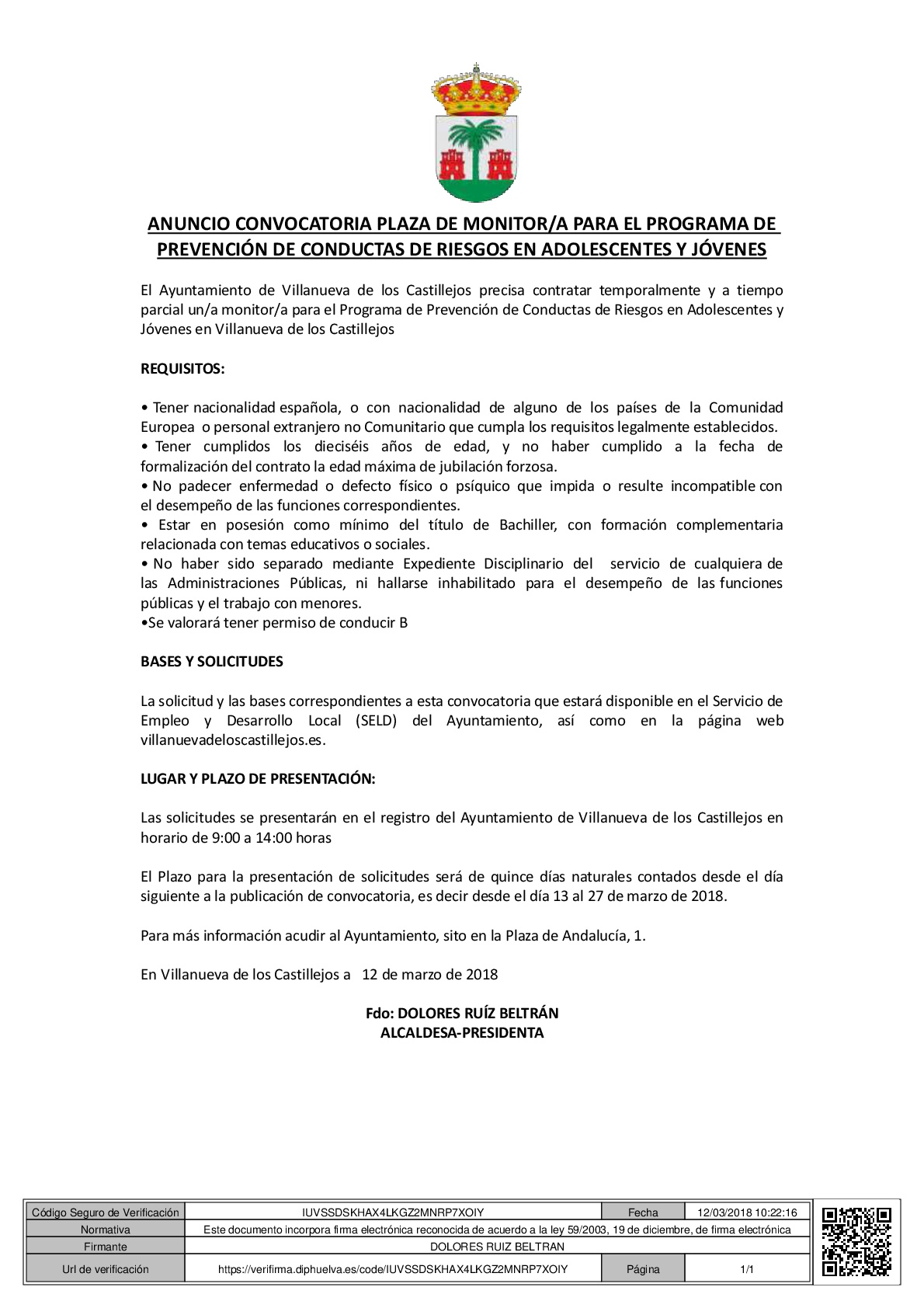 ANUNCIO CONVOCATORIA PLAZA DE MONITOR PREVENCION-001